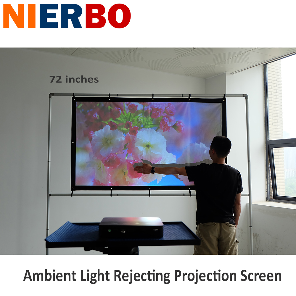 72 Inch 16:9 Ambient Light Rejecting Projection Screen High Gain Portable Projector Screen with Borders and Eyelets No Frame