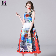Merchall High Quality Summer Runway Maxi Dress Womens Sleeveless Charming Floral Print Party Long Dresses Vestidos Robe Femme