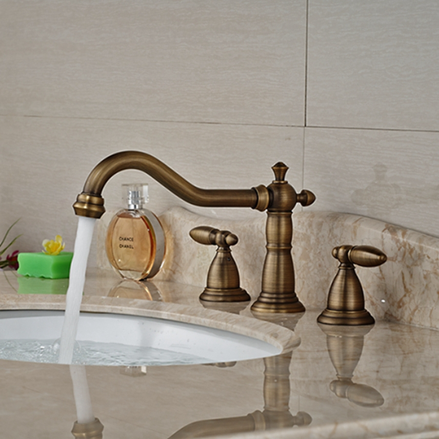 Wholesale And Retail Brand NEW Antique Brass Bathroom Basin Faucet Widespread Double Handles Spout Sink Mixer Tap Deck Mounted kemaidi bathroom faucet double handles bathtub basin sink mixer tap 3 pcs antique brass faucet set brand new deck mounted