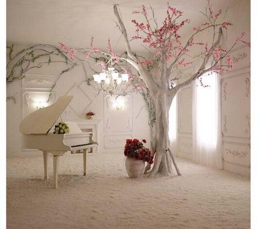 10x10ft Bianco Antico Camera Fiori Rosa Ramo Pianoforte Sole