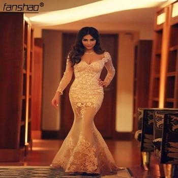 Champagne Muslim Evening Dress Mermaid Cap Sleeves Lace Beaded Slit Sexy Islamic Dubai Saudi Arabic Long Elegant Evening Gown