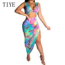 TIYE Sexy Deep V Neck Hollow Out High Split Beach Maxi Dress Women Sleeveless Bodycon Bandage Print Party Elegant Summer Dresses