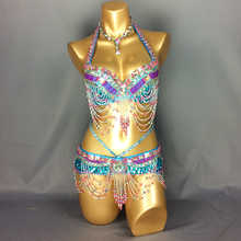 New Women's beaded belly dance costume Halloween wear Bar+Belt 2pcs set ladies belly dance costumes Christmas party dancing wear - DISCOUNT ITEM  0% OFF All Category