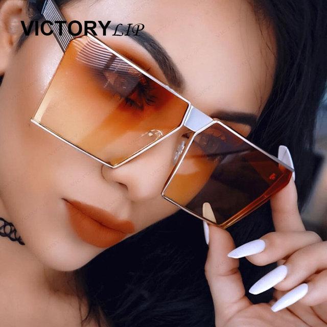 VictoryLip Fashion Brand Designer Square Sun Glasses Mirror Women Sunglasses Men Eyeglasses Hip Hop rose gold Frame Lady Male