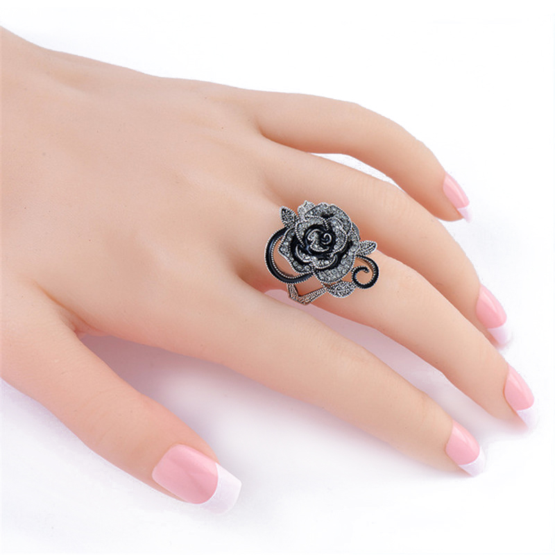 1 Pcs Vintage Romantic Crystal Rose Flower Rings for Women Girls
