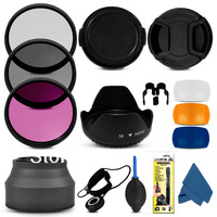 1 set Professional 55MM Filter CPL+UV +fld + Lens Hood + Cap + Cleaning Kit for Canon nikon sony camera 55mm lens