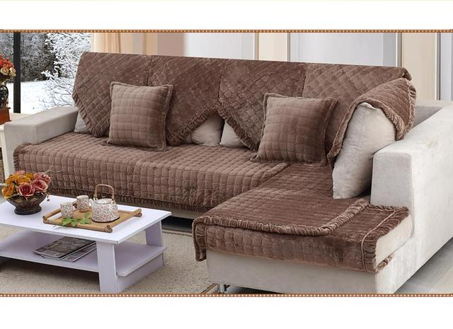 Fabric Sectional Couch Covers Luxury Slipcovers Sofa Cushion Autumn Warm  Double Seat Corner Sofa Covers