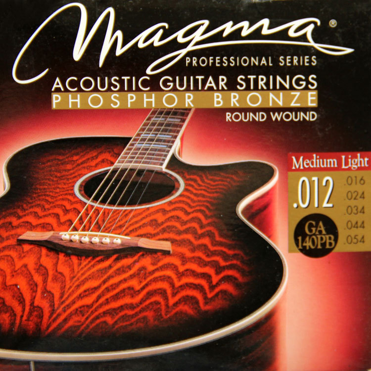 MAGMA 120 years of production history Acoustic guitar strings PHOSPHOR BRONZE - Round Wound GA140PB( .012-054) Medium Light