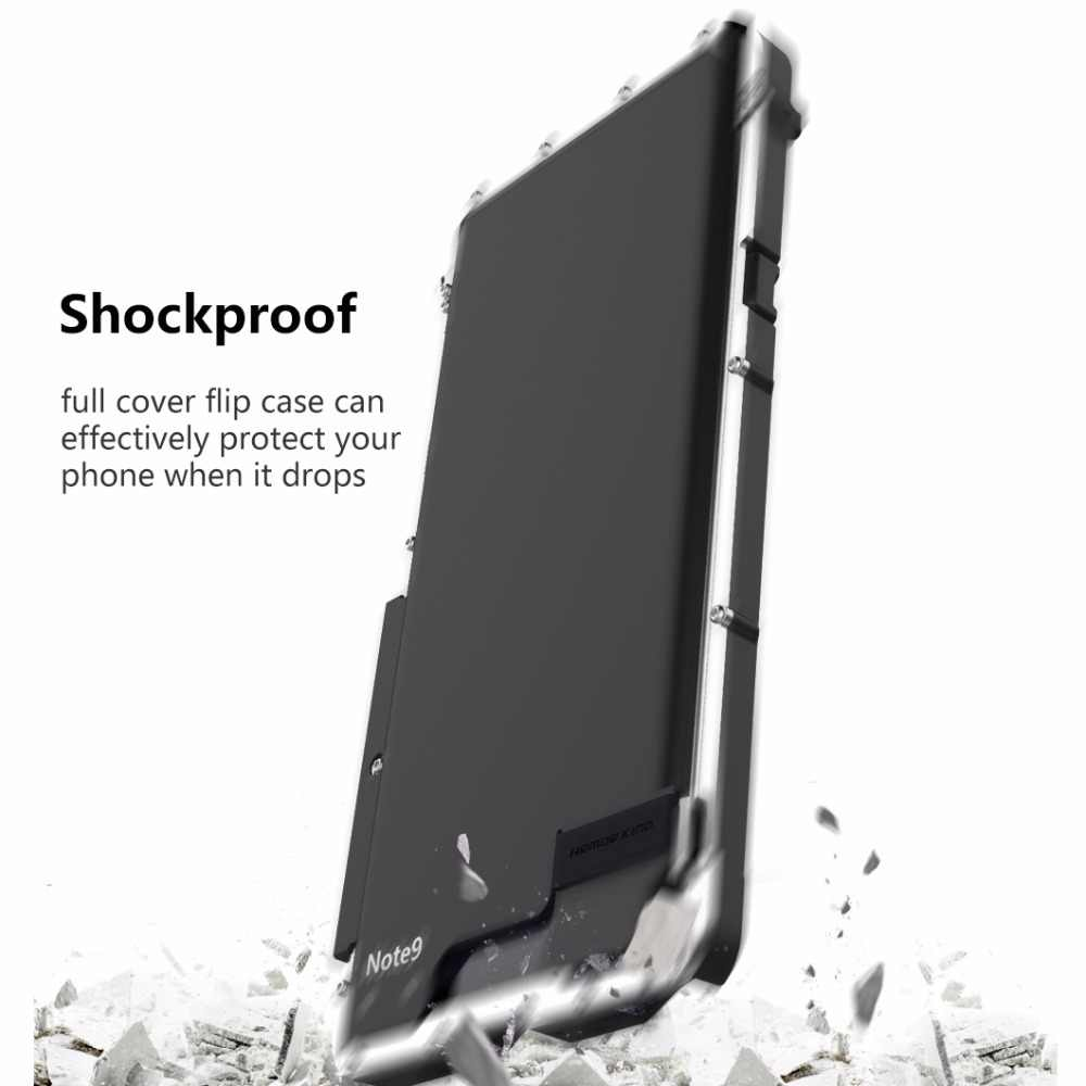 Carcasa abatible de Metal de acero inoxidable Armor King para Samsung Galaxy Note 9 10 cubierta a prueba de golpes para Samsung Note9 S10 5G Metal de lujo