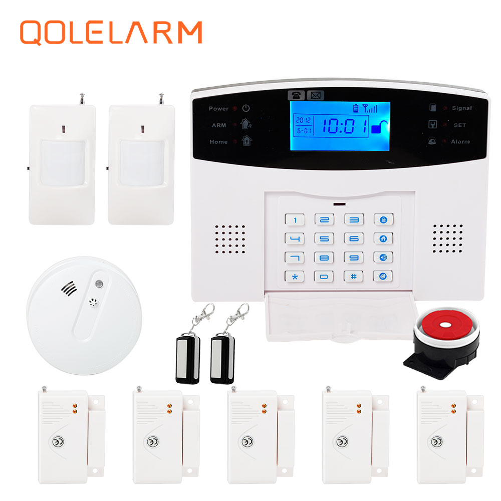 French Russian voice 433mhz GSM alarm systems home security kit APP phone remote control heat smoke sensor PIR motion sensor spanish french russian voice 433 mhz new arrivel 433mhz remote control wireless gsm sms call home security gsm alarm system