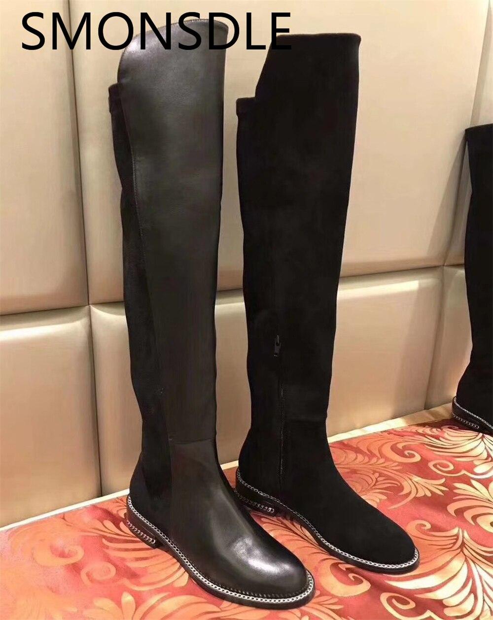SMONSDLE новые модные черные из натуральной кожи слипоны Для женщин сапоги ботфорты с круглым носком Толстая Женская обувь на низком каблуке