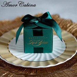 Image 3 - 20 قطعة هدايا الزفاف الإبداعية هدية صندوق حلوى مربع للتعميد استحمام الطفل حفلة عيد ميلاد لوازم التفاف مع الشريط
