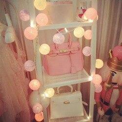 20 P/set LED Bola Kapas Lampu LED Fairy String Lampu Natal Karangan Bunga Lumineuse Rumah Teras Pernikahan Dekorasi Romantis CT46