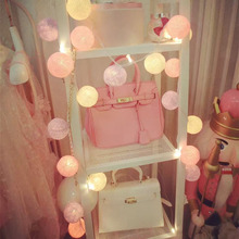 цена на 35 LED Cotton BALLs Guirlande lumineuse Fairy String Lights Christmas Garland Banquet Home Patio Wedding Romantic Decoration