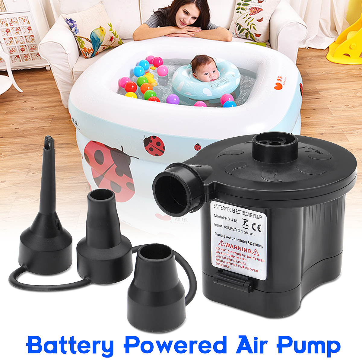 6V Portable Battery Powered Electric Air Pump Inflator with 3 Nozzles For Inflatable Toys Air Bed Boat ABS Air Pump Black dc 12v portable electric air pump air bed mattress boat car auto air inflatable pump for camping inflator with 3 nozzles mayitr