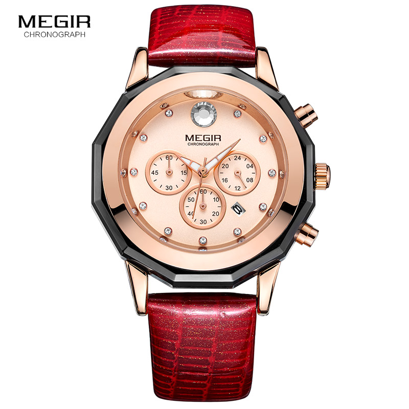 Megir Women Watches Ladies Watch Chronograph Leather Strap Quartz  Date Luminous Hands Waterproof Wristwatch Relogio Feminino бронзатор by terry сыворотка бронзатор terrybly densiliss® sun glow 03 цвет 03 sun bronze variant hex name bd795b