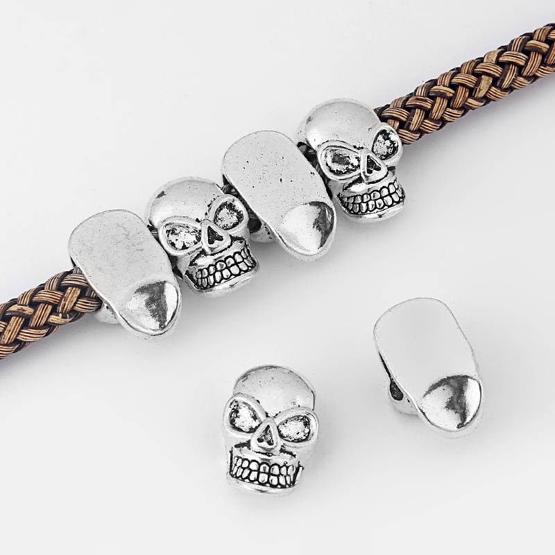 10Pcs Antique Silver 10x5mm Skull Spacer Beads For DIY Jewellery Craft Making Supplies