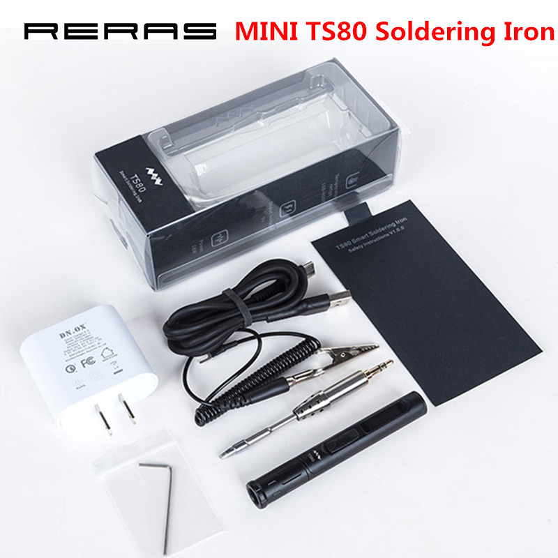 MINI <font><b>TS80</b></font> Digital Soldering Iron Station QC3.0 USB Type-C OLED Programable Interface Built-in STM32 Chip + Tips Set of Tools New image