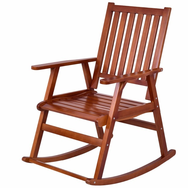 Giantex Wood Rocking Chair Garden Single Porch Rocker Indoor Outdoor