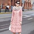 Кожа замша женщины розовый пальто натуральной овчины пуховик фокс уравновешивания шерсти гуд зимняя куртка бесплатная доставка Новый Феникс 1209B