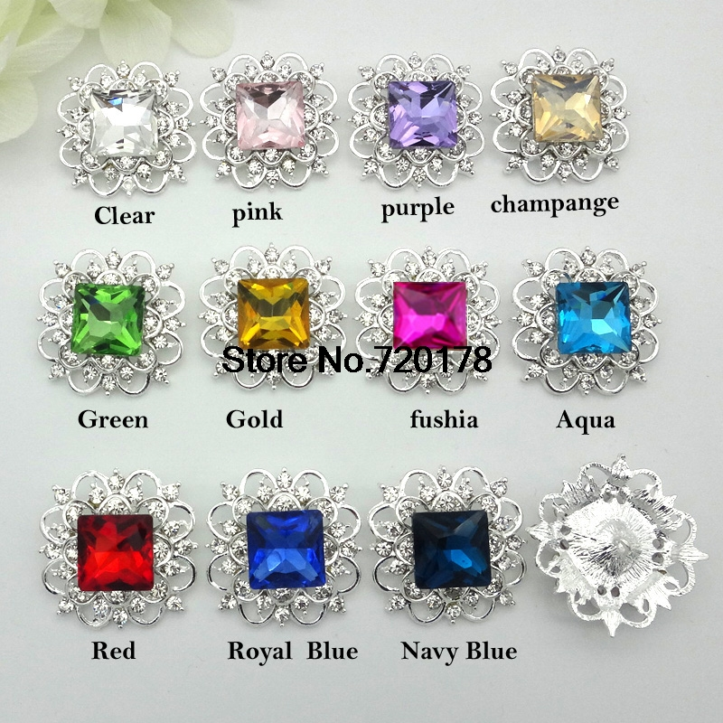 33mm 15colors Large GLASS Christmas Metal Rhinestone Buttons Square Rhinestones Wedding Bouquets Button 120pcs RMM121