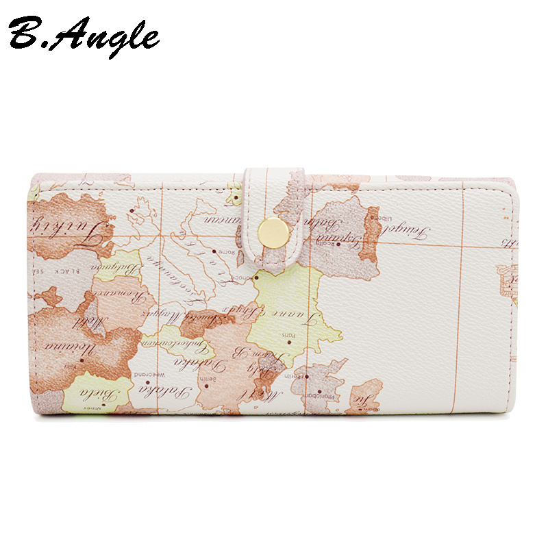 High quality world map white wallets fashion purse brand design women wallets men card holder women clutch long hasp wallet casual weaving design card holder handbag hasp wallet for women