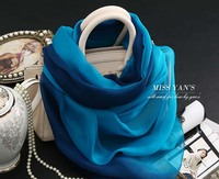 Blue Beidge Color Gradient 100 Silk Shawl High Quality Wholesale Bufanda Mujer Gato Floral Viscose Hijab