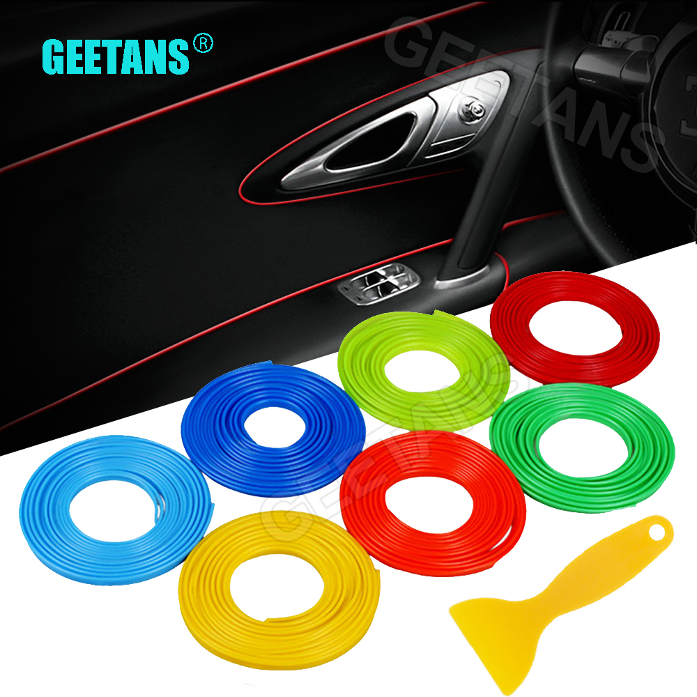GEETANS 5M / Lot Car styling Decorazione interna autoadesivo filettato Inserto tipo Presa d'aria Cruscotto Decorazione Accessori per striscie AF