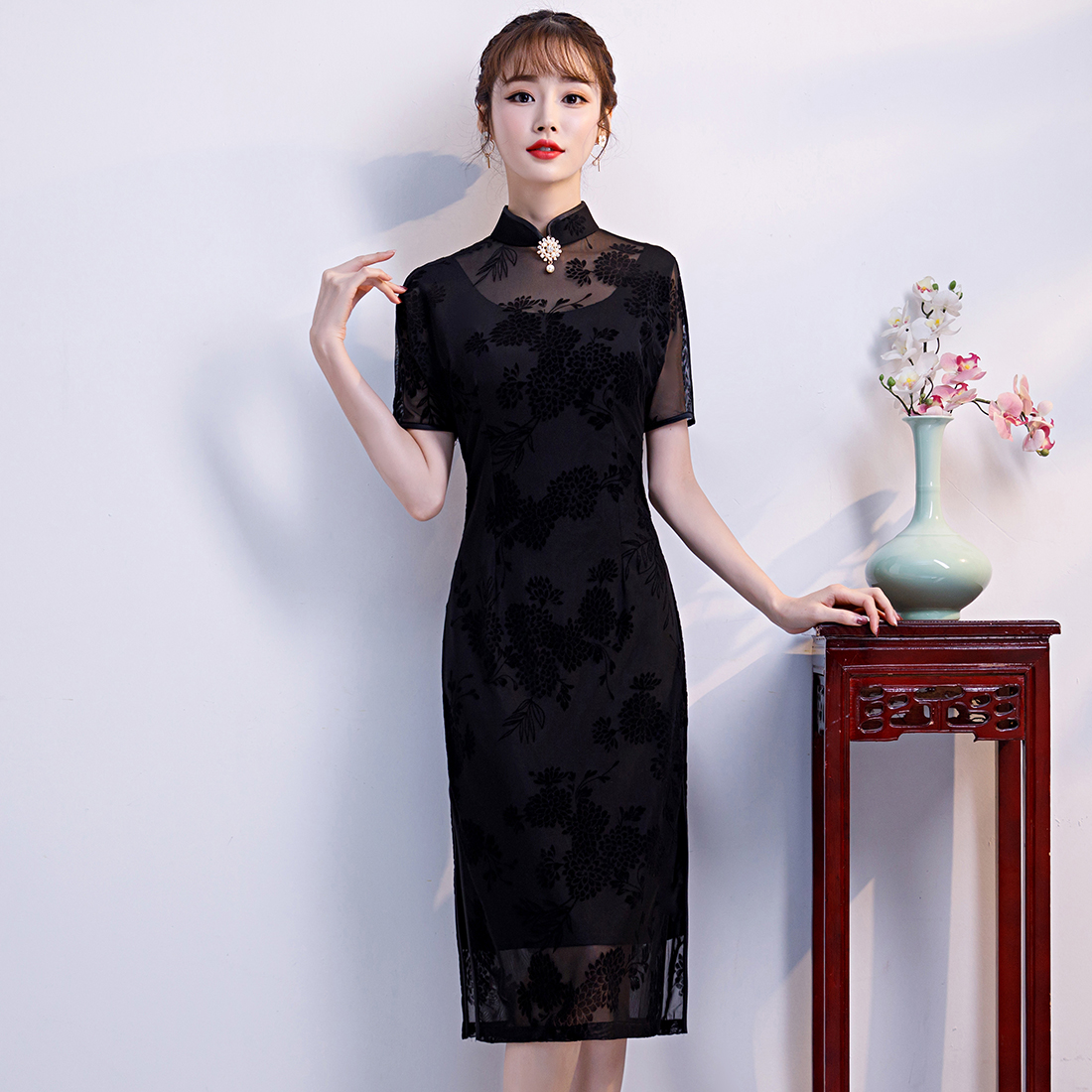 Black Lace Women Sexy Summer Evening Dress Retro Mandarin Collar Cheongsam Elegant Slim Chinese Style Long