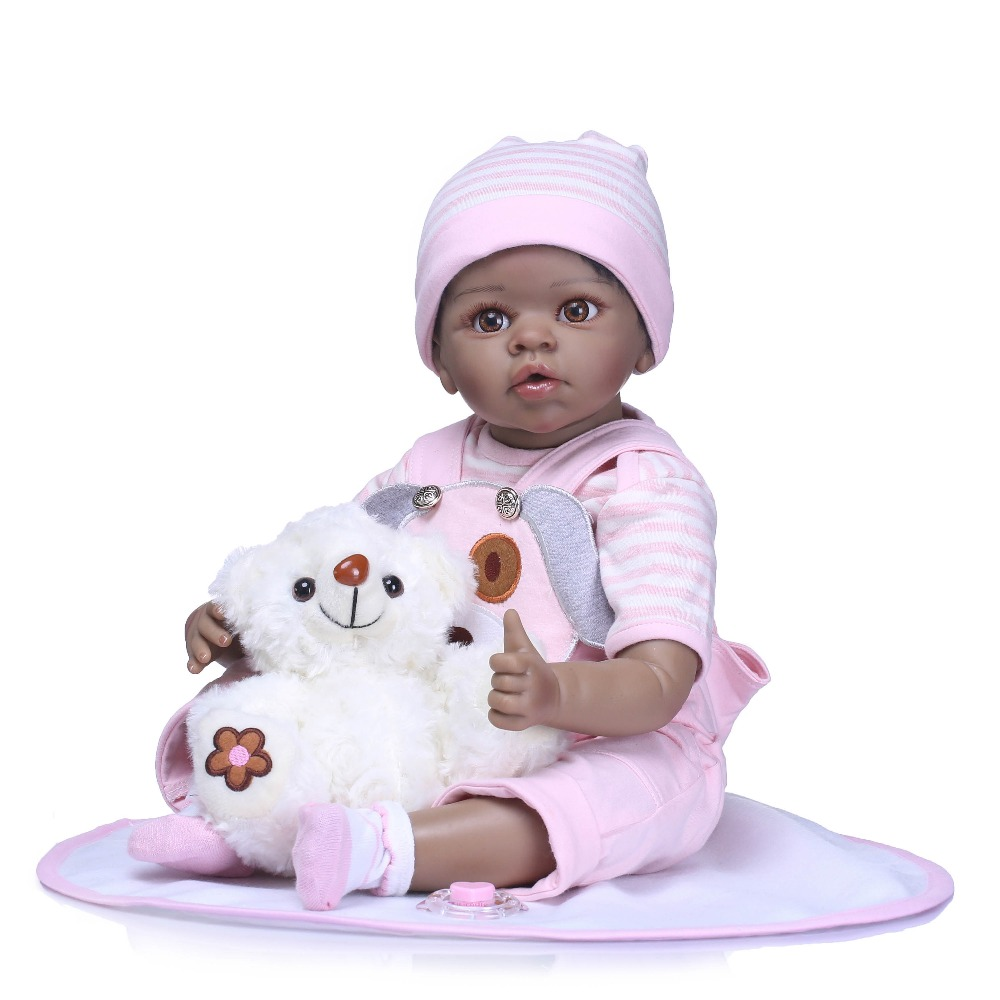 NPK Bebe 22 real girl reborn soft silicone vinyl reborn baby dolls black skin high quality