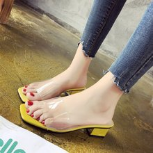 2019 Spring Summer New Shoes Style Korean-Style Slippers Transparent Crystal Women Block Heel Sandals
