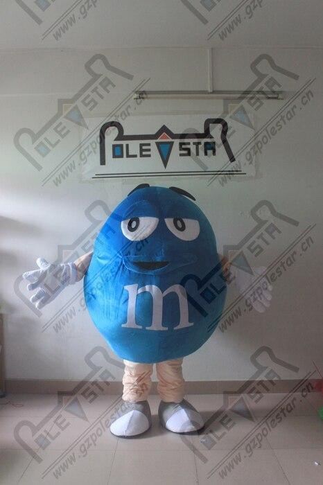 cartoon chocolate walking actor new advertisement costumes M doll mascot costume Blue chocolate mascot costumes