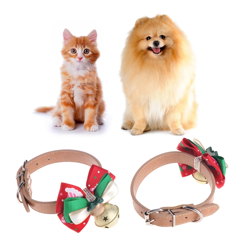 Christmas Santa Claus Pet Cat Bell Bow Tie Necktie Dog Collar Puppies Cachorro Kitty New Year Party Outfit Cat Accessories