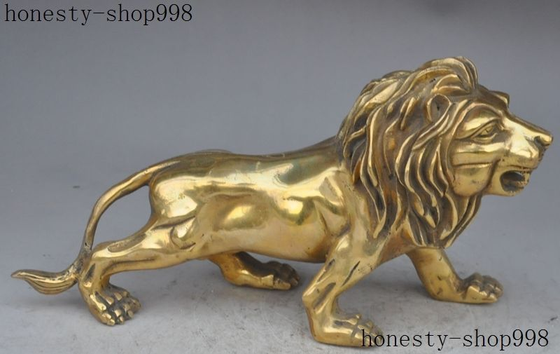 7Chinese FengShui Brass Copper Ferocious Roar Lion Leo King Statue Sculpture 7Chinese FengShui Brass Copper Ferocious Roar Lion Leo King Statue Sculpture