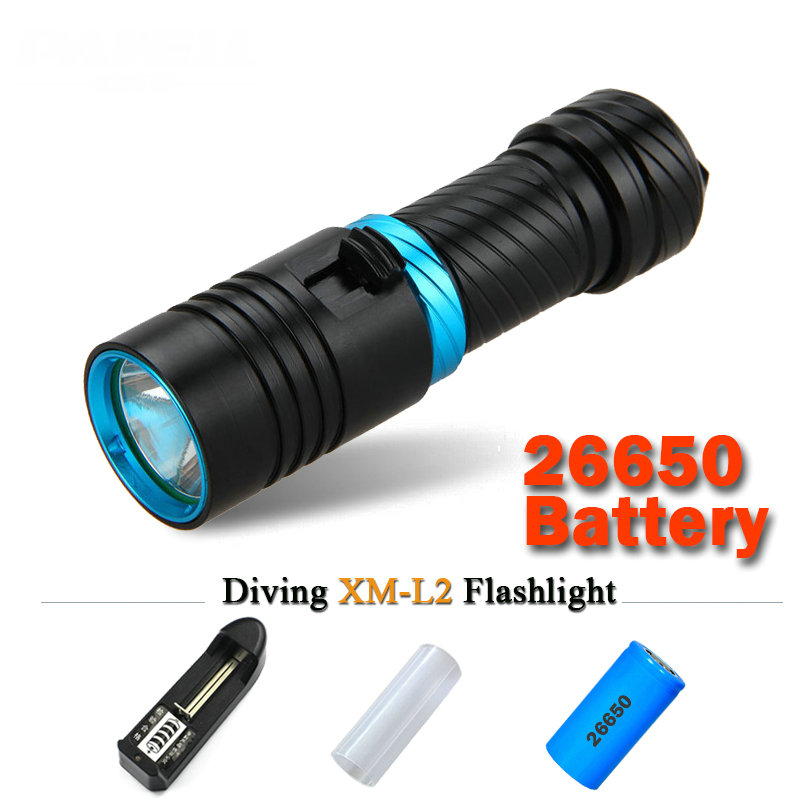 Diving flashlight cree xml t6 1 mode lamp IPX8 Scuba lantern flashlight led Underwater torch 18650 or 26650 rechargeable battery 3 modes 1 xml t6 flashlight ultra bright torch display power rechargeable led flashlight by 1 18650 1 26650 battery