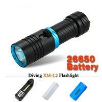 Lặn đèn pin cree xml t6 1 chế độ đèn IPX8 Scuba đèn lồng đèn pin led Dưới Nước torch 18650 hoặc 26650 pin có thể sạc lại