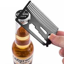 BellyLady Multifunctional Beard Comb Stainless Steel Bottle Opener Wrench Screw Driver Knife Blade Breakaway