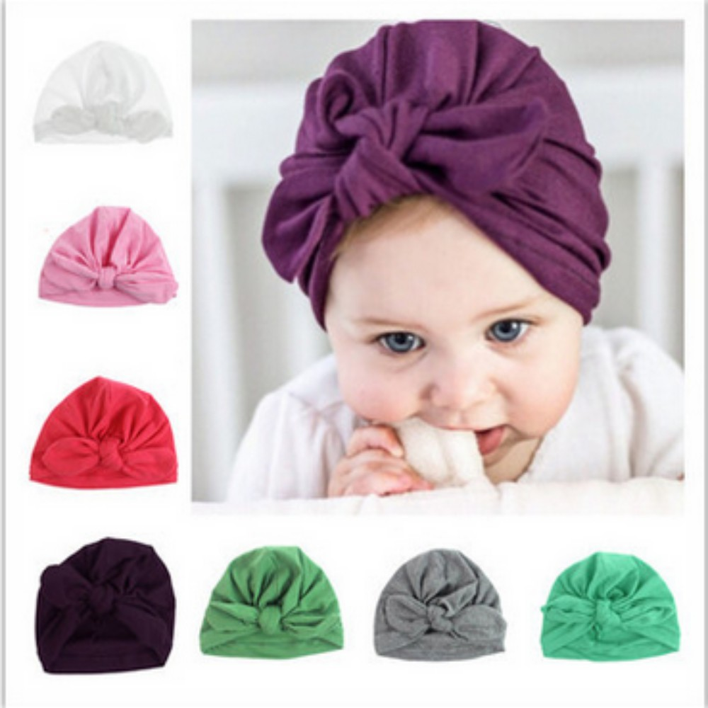 Newborn Baby Rabbit Ear hat infant pure color Elastic Turban Knot Head Wraps  baby Turban Photography Prop 865656a516bc