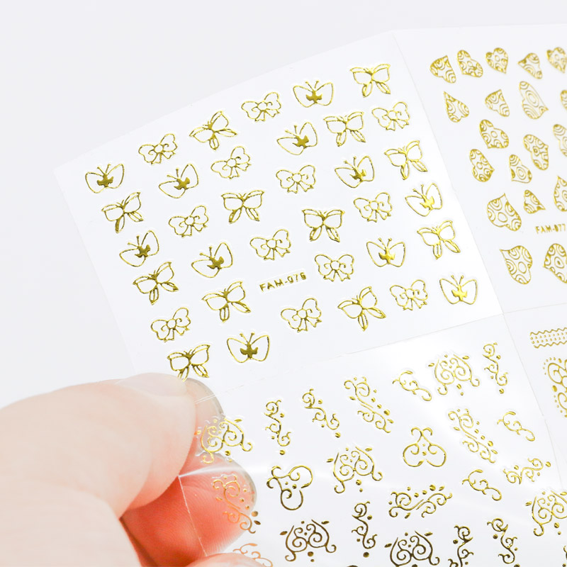 3D Water Transfer Nail Art Stickers 30Sheets lot Gold Lace Striping Tape Metallic Nail Decals Wraps DIY Beauty Nail DecorationS in Stickers Decals from Beauty Health