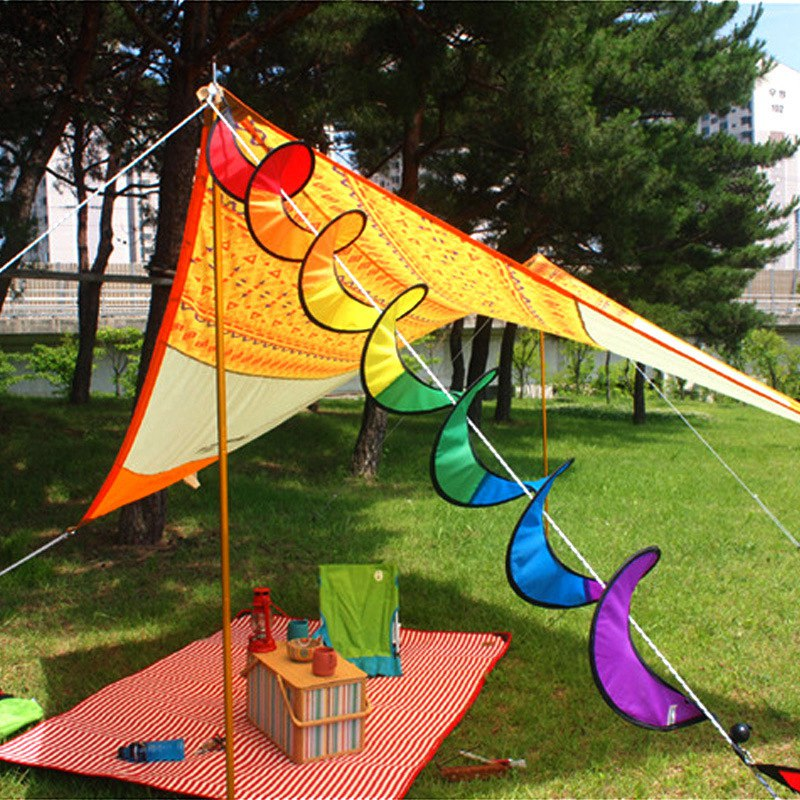 New Rainbow Spiral Windmill Colorful Wind Spinner Tent Kite Long Tail Nylon Outdoor Garden Home Decorations YYY9135
