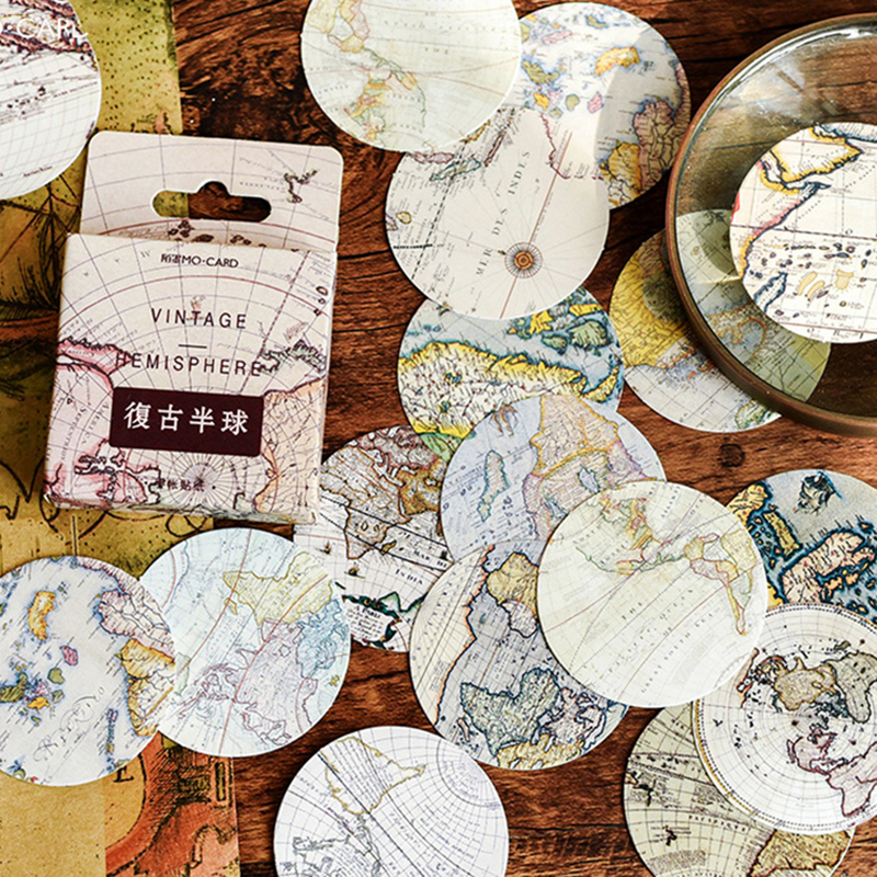 46Pcs/box Vintage World Map Stickers Scrapbook Creative DIY Bullet Journal Decorative Adhesive Label Sticker Stationery Supplies