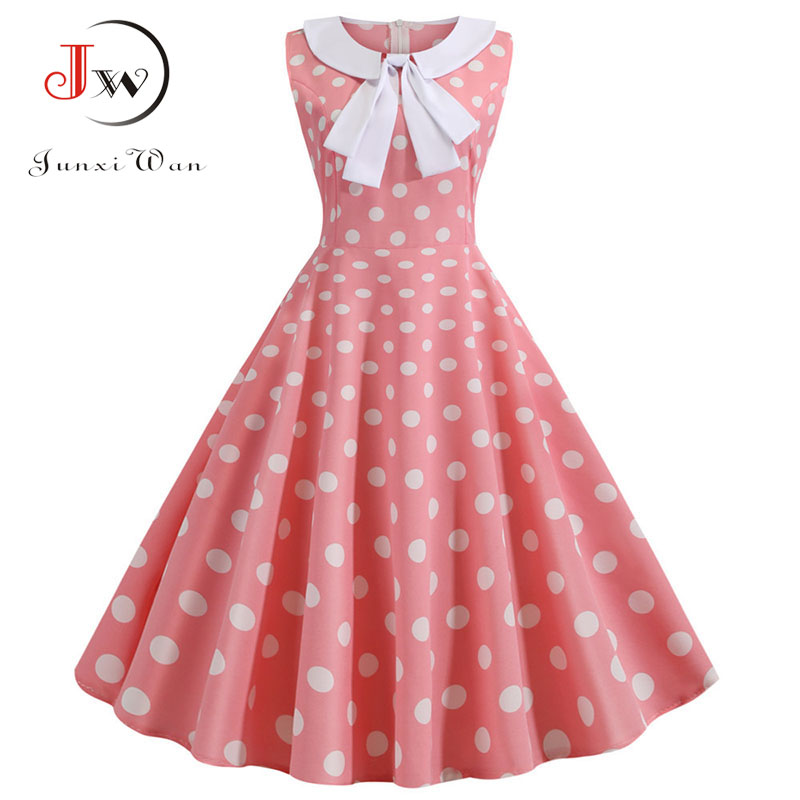 Plus Size Polka Dot Vintage Dress Women Summer Pink Rockabilly Office Party Dress Casual Peter Pan Collar Bow Sundress Vestidos