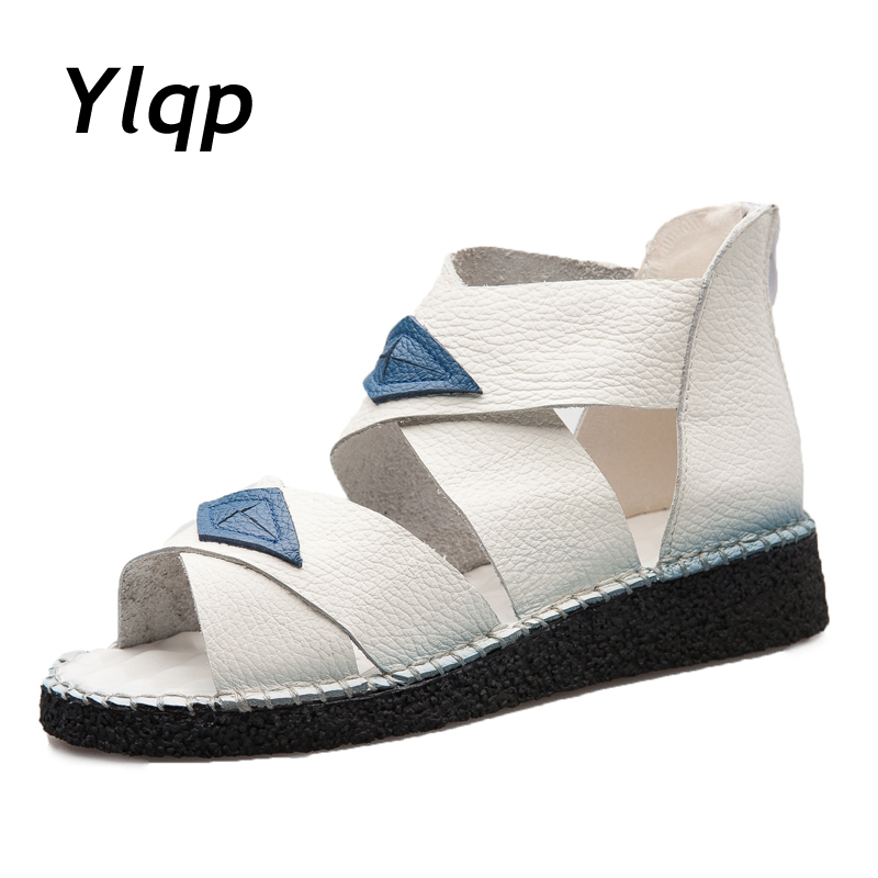 Ylqp Roman casual summer flats shoes sandals for women Fashion 2018 New Shoes Women's Sandals genuine leather zapatos mujer instantarts women flats emoji face smile pattern summer air mesh beach flat shoes for youth girls mujer casual light sneakers