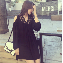New fashion spring summer autumn maternity dress Dew shoulder v-neck lace Pregnancy loose-fitting large size clothing