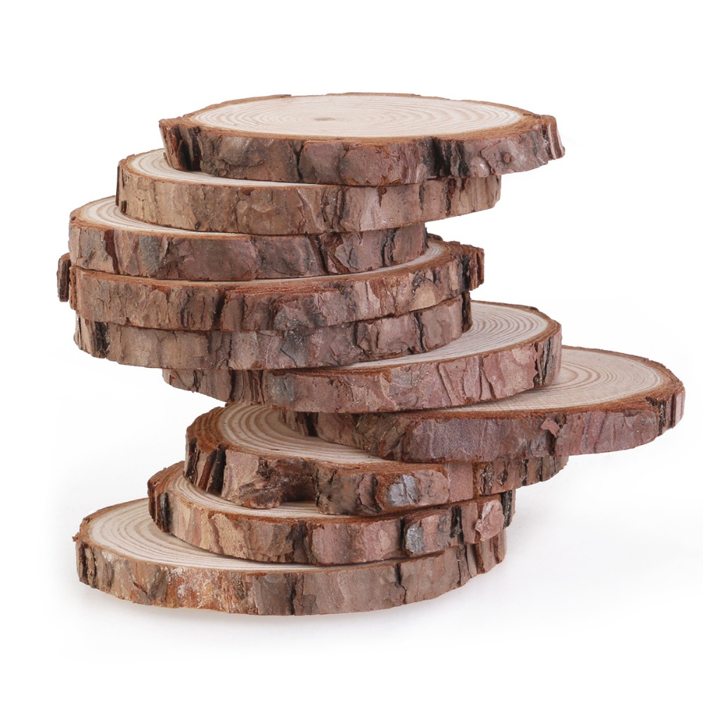 5pcs 7-9CM Natural Wood Slices Unfinshed Pine Wood Slabs Large Rustic Wood Pieces For Wedding Centerpiece,DIY Projects
