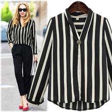 new plus size blouse women shirt 2019 ladies tops streetwear korean style  fashion clothing stripe spring and autumn long sleeve