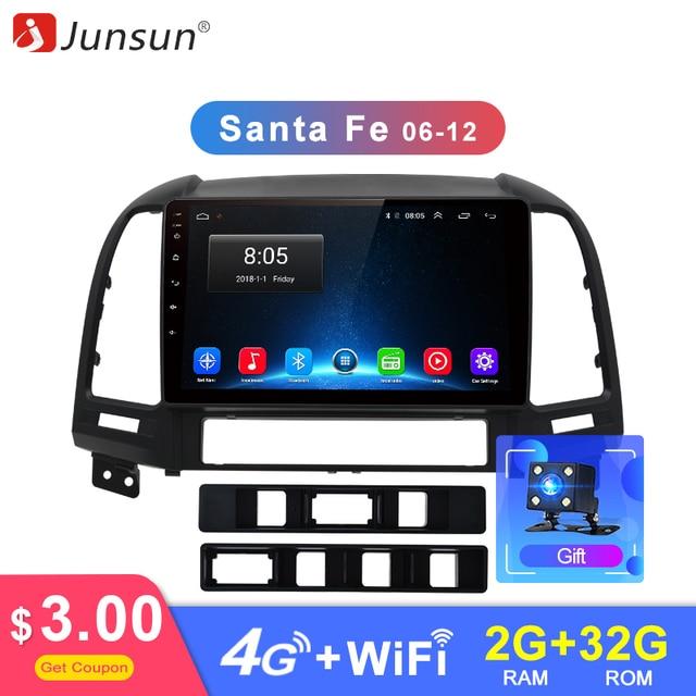 Junsun Android 8,1 автомобильный Радио Мультимедиа Стерео Аудио плеер gps 2 Din для hyundai Santa Fe 2 2006 2007 2008 2009 2010 2011 2012