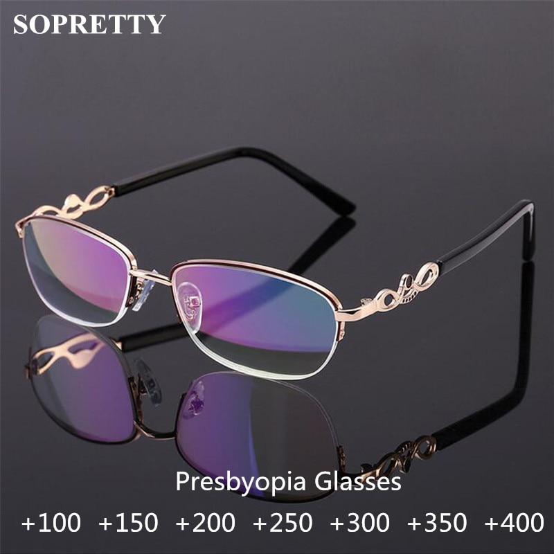 Gafas de lectura de cristal de medio marco para mujer, gafas de presbicia de Metal Floral para mujer, gafas de lente transparente azul de recubrimiento (R1668)