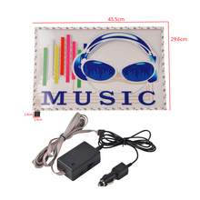 Car Styling Headsets Car Sticker 45.5cm*29.6cm Music Rhythm Stickers 12V Car Sound Activated Light LED Flash Lamp