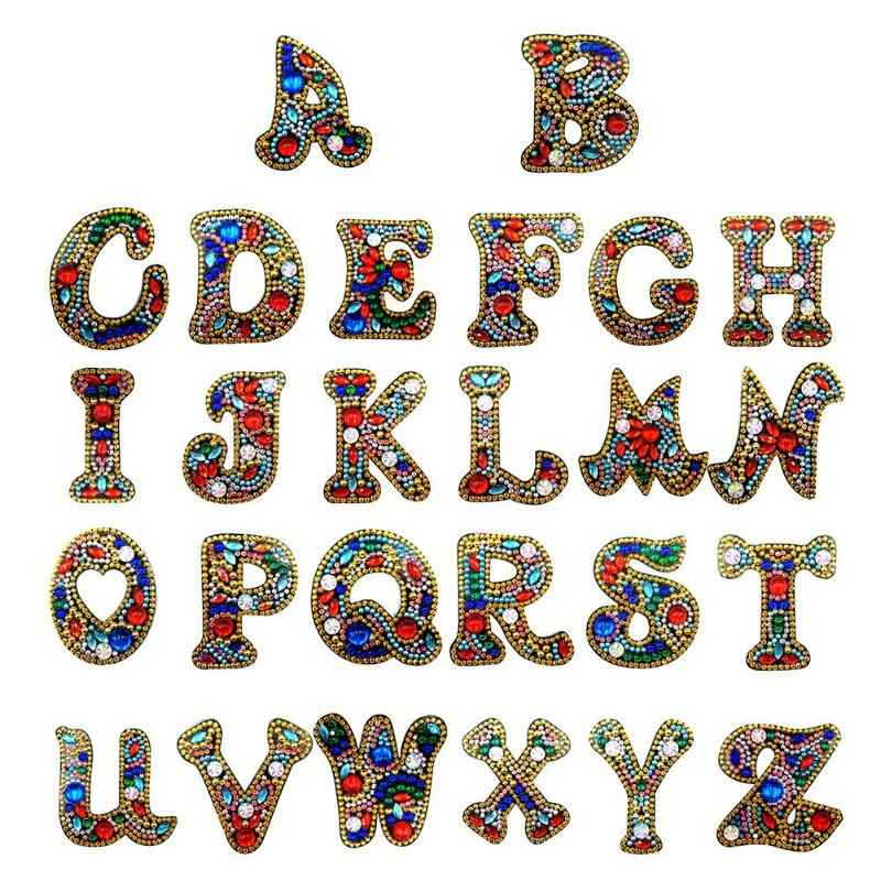 A-Z DIY Keychain Diamond Painting Letters Women Bag Keyring Pendant Love gift Special-shaped Full Drill Embroidery Cross Stitch